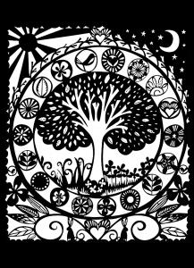 Coloriage adulte arbre blanc noir