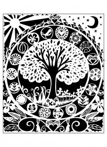 Coloriage adulte arbre noir blanc