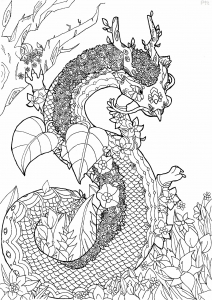 Coloriage adulte dragon fleuri