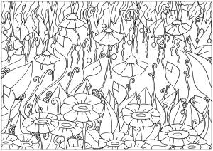 Coloriage adulte elanise art fleurs montantes descendantes