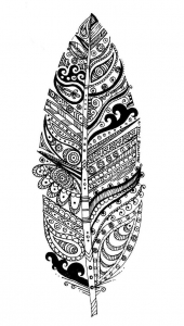 Coloriage adulte feuille et motifs