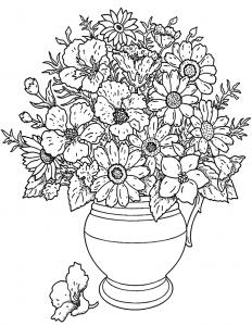 Coloriage adulte fleurs bouquet