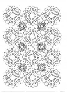 Coloriage adulte fleurs cercles