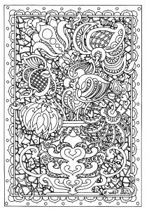 Coloriage adulte fleurs difficile details