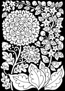 Coloriage adulte fleurs fond noir