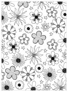 Coloriage adulte fleurs mpc design