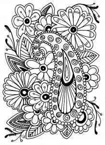 Coloriage adulte fleurs paisley