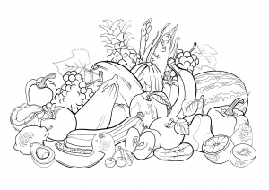 Coloriage adulte fruits