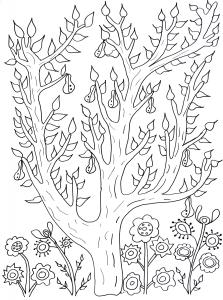 Coloriage adulte joli poirier par olivier
