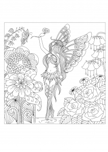 Coloriage adulte la reine des fleur par bimdeedee