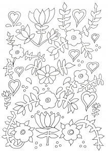 Coloriage adulte naif fleurs