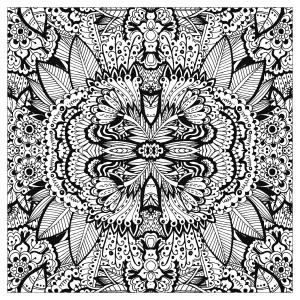 coloriage adulte tapis de fleurs tres complexe carre par valeriia lelanina