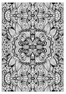 Coloriage adulte tapis de fleurs tres complexe par valeriia lelanina