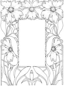 Coloriage cadre fleuri
