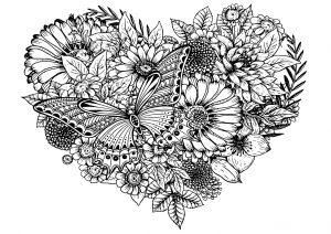 Fleurs et papillon dans un coeur