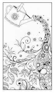 Coloriage fleurs et vegatation arrosoir magique