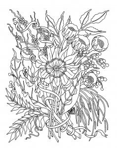 Coloriage pour adulte fleurs jardin