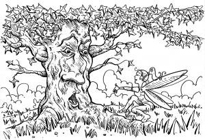 Coloriage pour adultes arbre