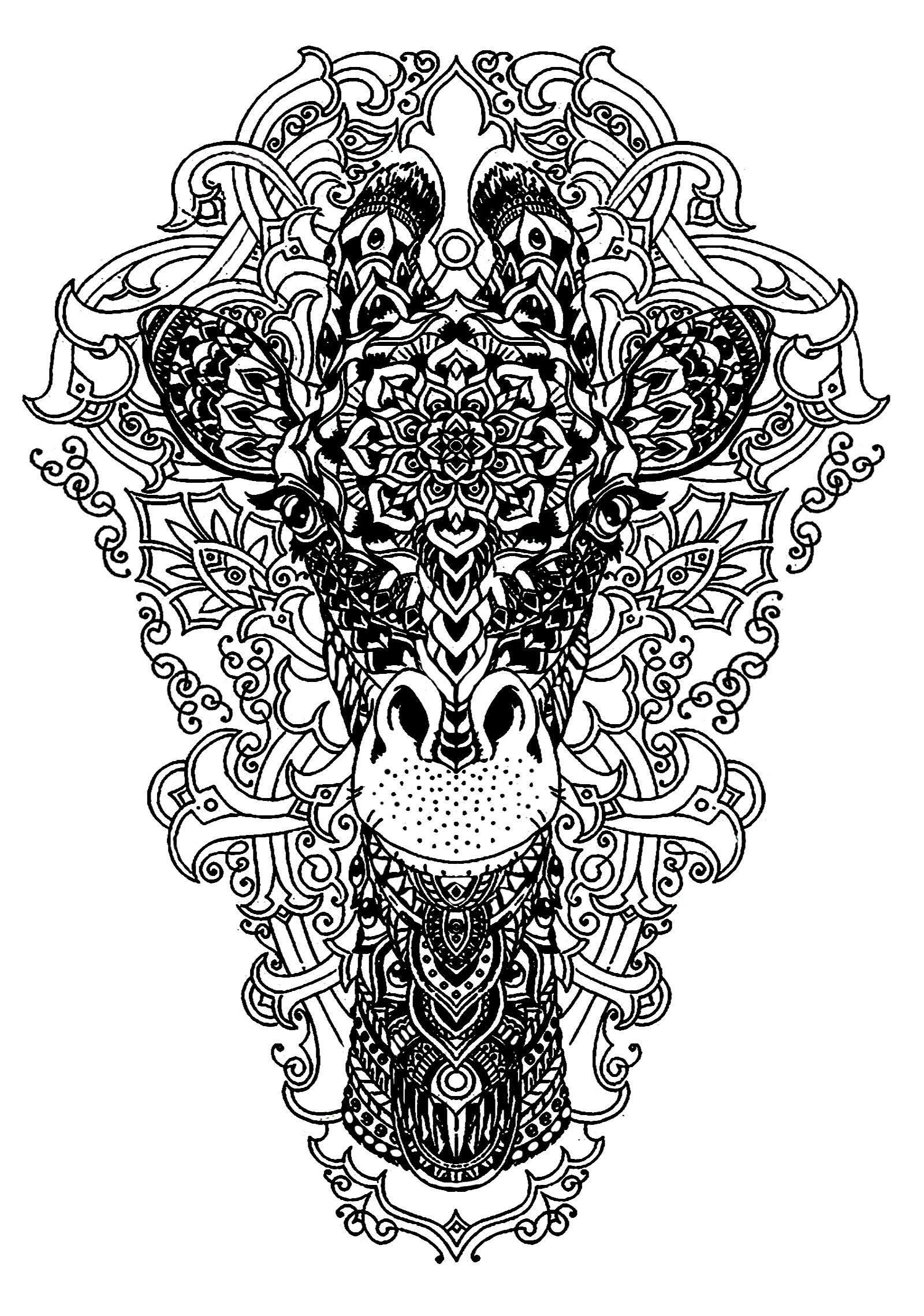 Tete de girafe girafes coloriages difficiles pour adultes for Giraffe mandala coloring pages