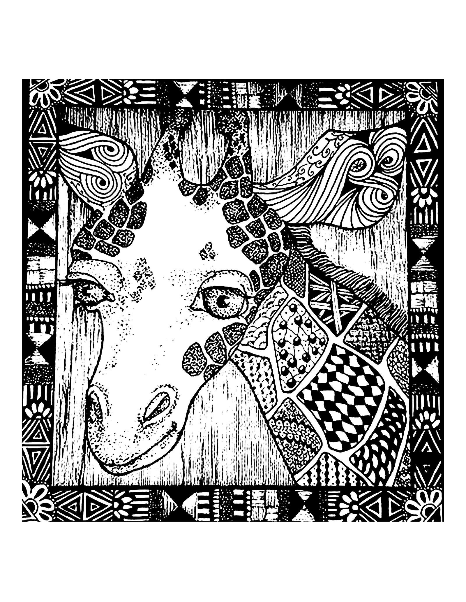 Coloriage Tete De Girafe A Imprimer.Tete Girafe Et Motifs Girafes Coloriages Difficiles Pour Adultes