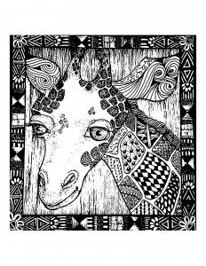 Coloriage tete girafe et motifs