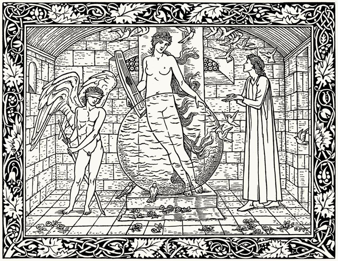Un coloriage créé à partir d'une gravure de Geoffrey Chaucer Hammersmith