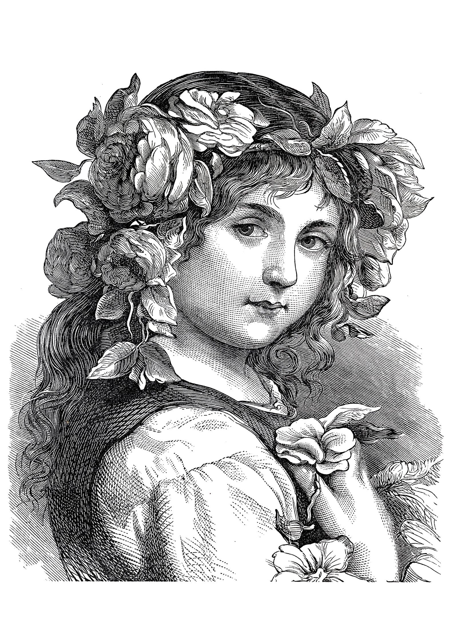 Petite fille à la coiffure fleurie, gravure datant de 1868