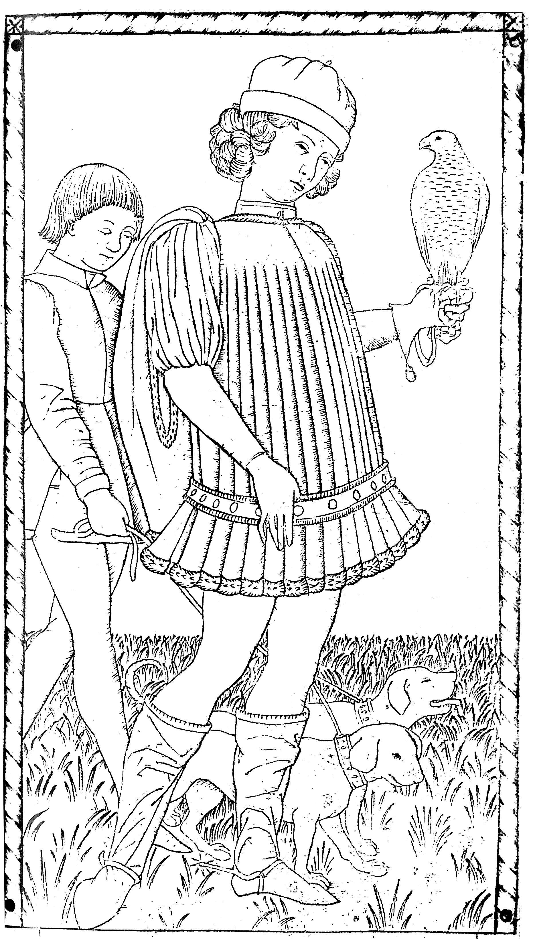 Gentilhomme, gravure par un artiste anonyme, 1465