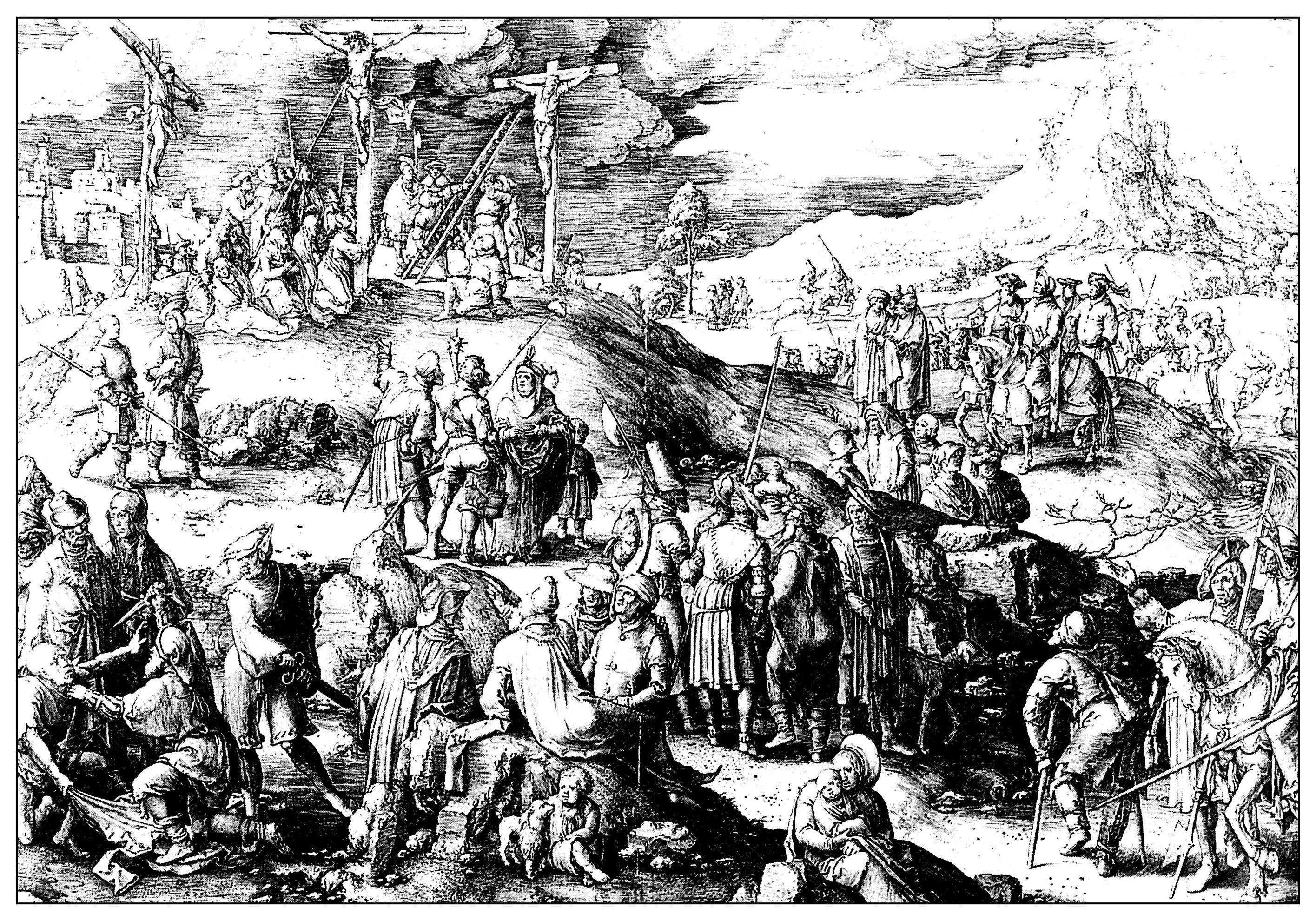 Le calvaire, gravure de Lucas de Leyde, 1517
