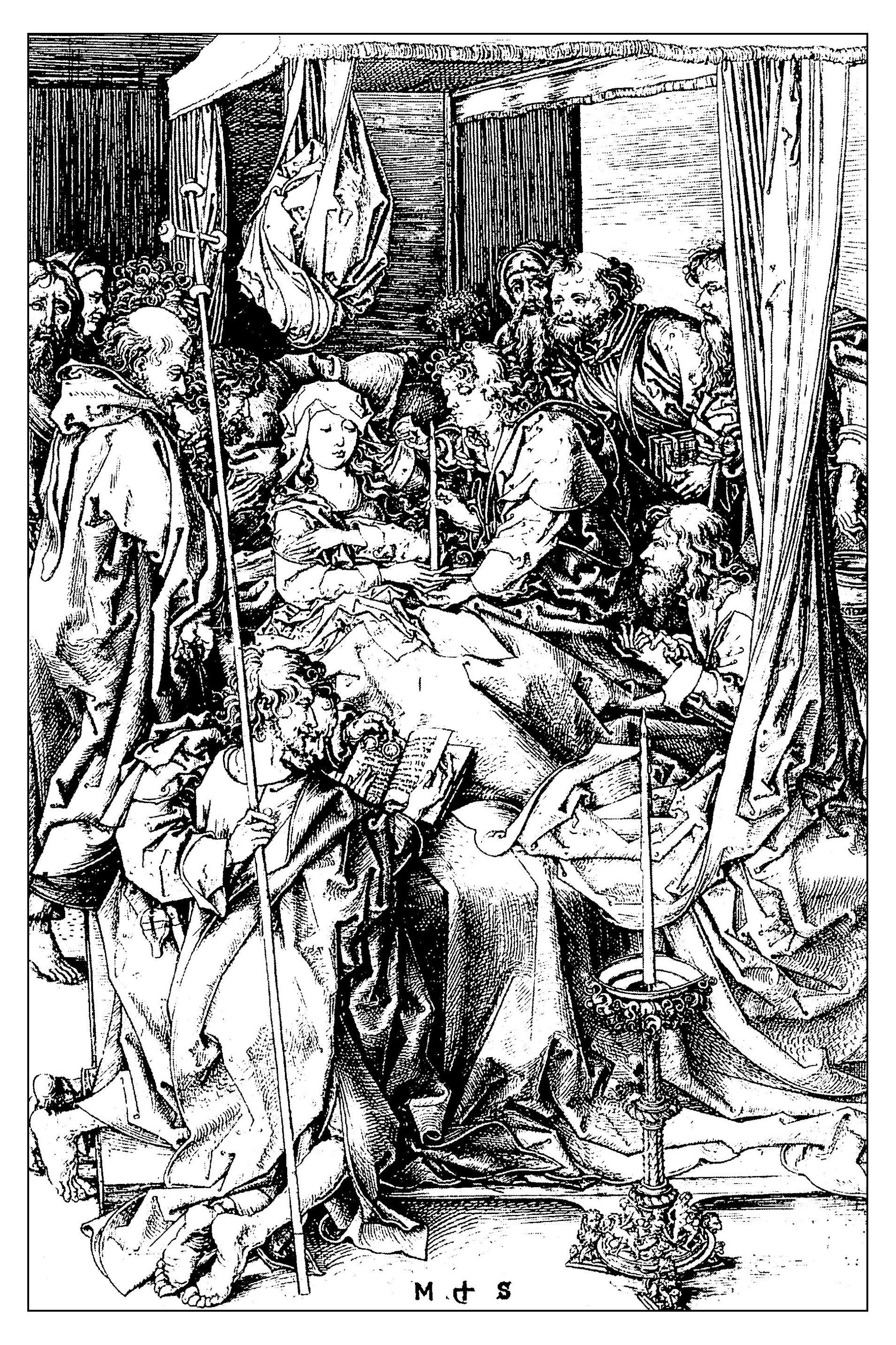 La mort de la vierge, gravure de Martin Schongauer, 1470