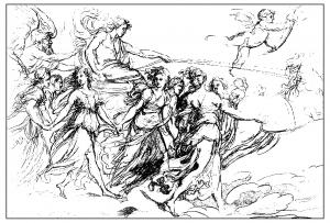 coloriage-adulte-gravure-francesco-rosaspina-le-char-de-laurore-19e-s free to print