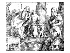 coloriage-adulte-gravure-jacopo-de-barbari-sainte-conversation-vers-1509 free to print