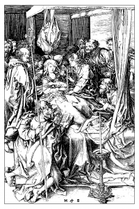 coloriage-adulte-gravure-martin-schongauer-la-mort-de-la-vierge-vers-1470 free to print