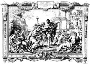 Coloriage adulte gravure pietro aquila allegorie avec annibal carrache relevant la peinture 1674