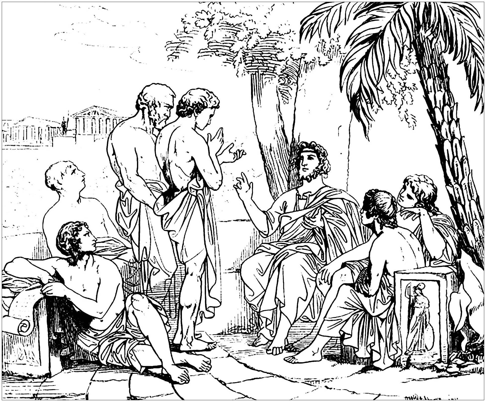 Platon dans son Académie, gravure de 1879 par un artiste inconnu