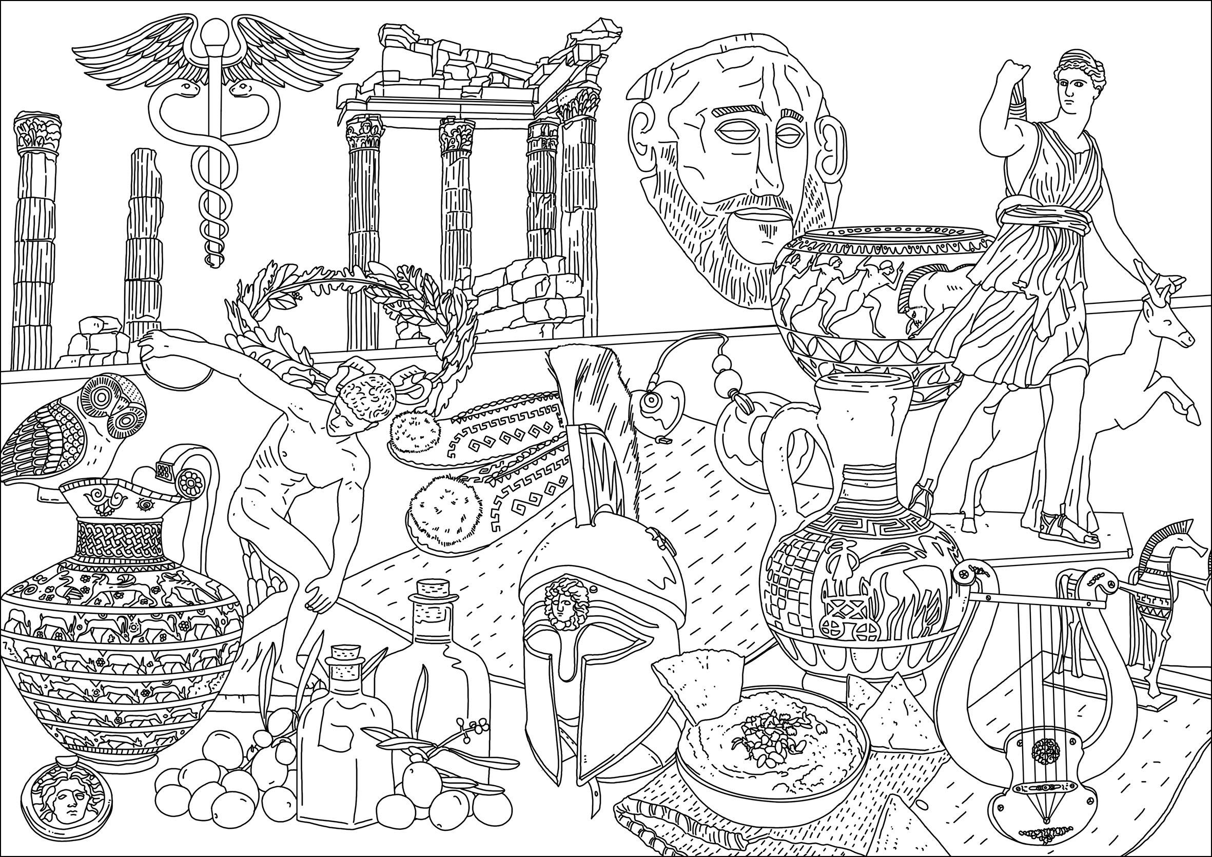 Différents symboles de la Grèce. Statues, temples, masques, instruments de musique ...