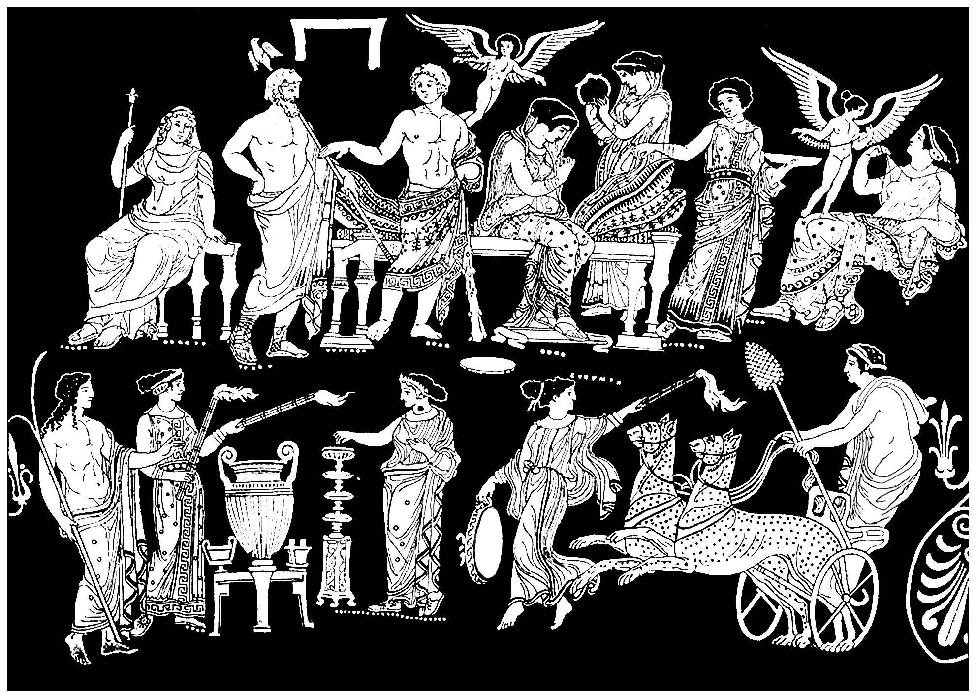 Le mariage d'Hercule et Hébé (créé à partir d'une peinture sur vase de la Grèce Antique)