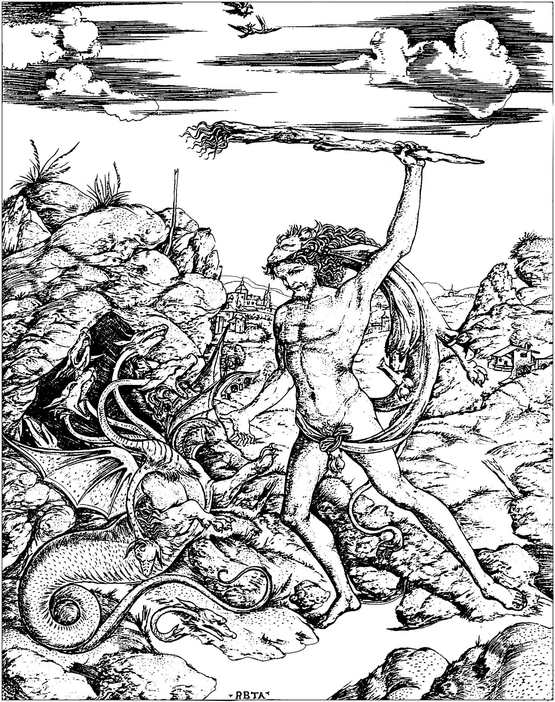 Les douze travaux d'Hercules : Hercules et l'Hydre, gravure du début du 16e siècle par Antonio Pollaiuolo (Italie)