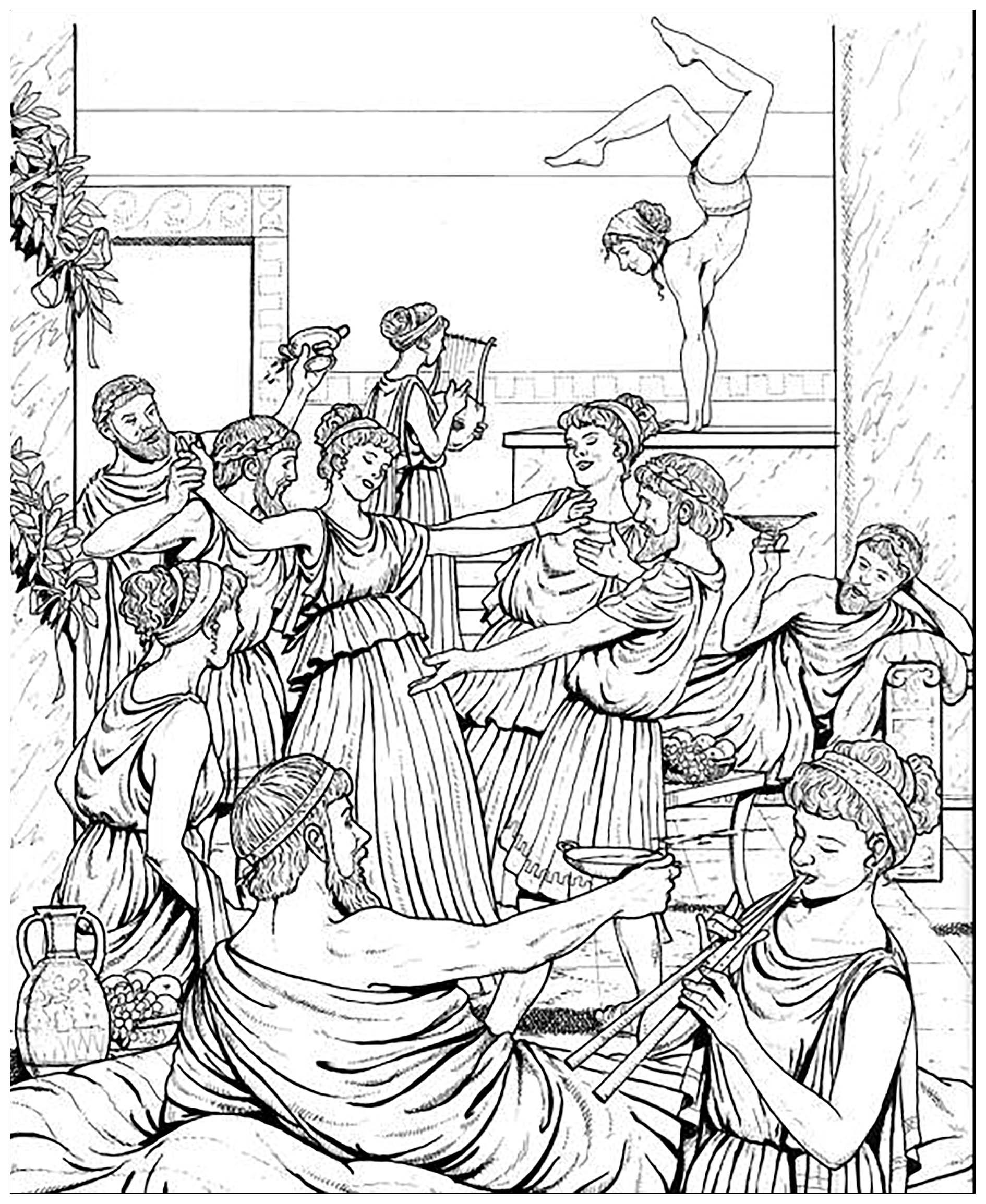 Coloriage provenant du livre 'La vie dans la Grèce Antique'
