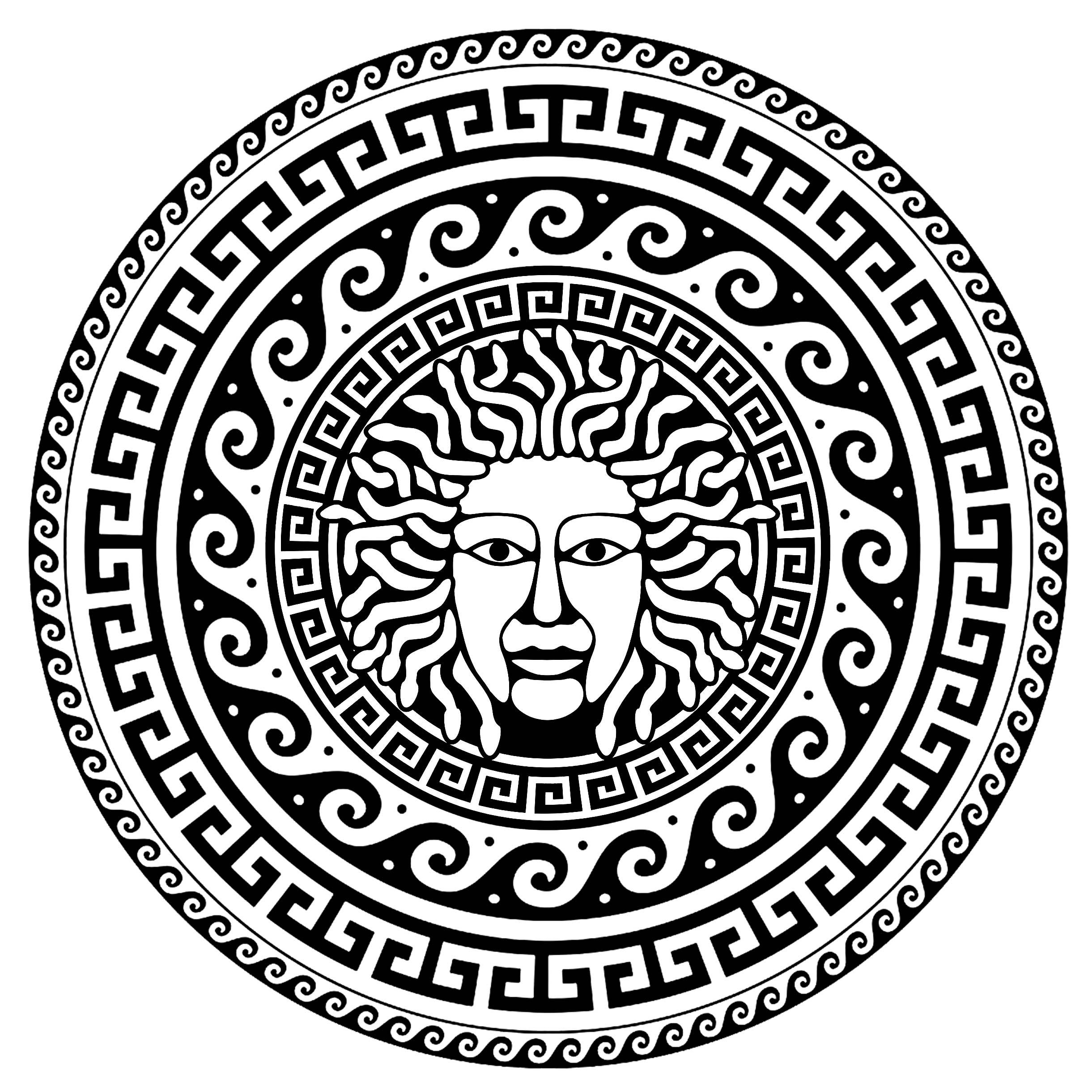 Médusa au centre d'un cercle composé de motifs grecs typiques - 1