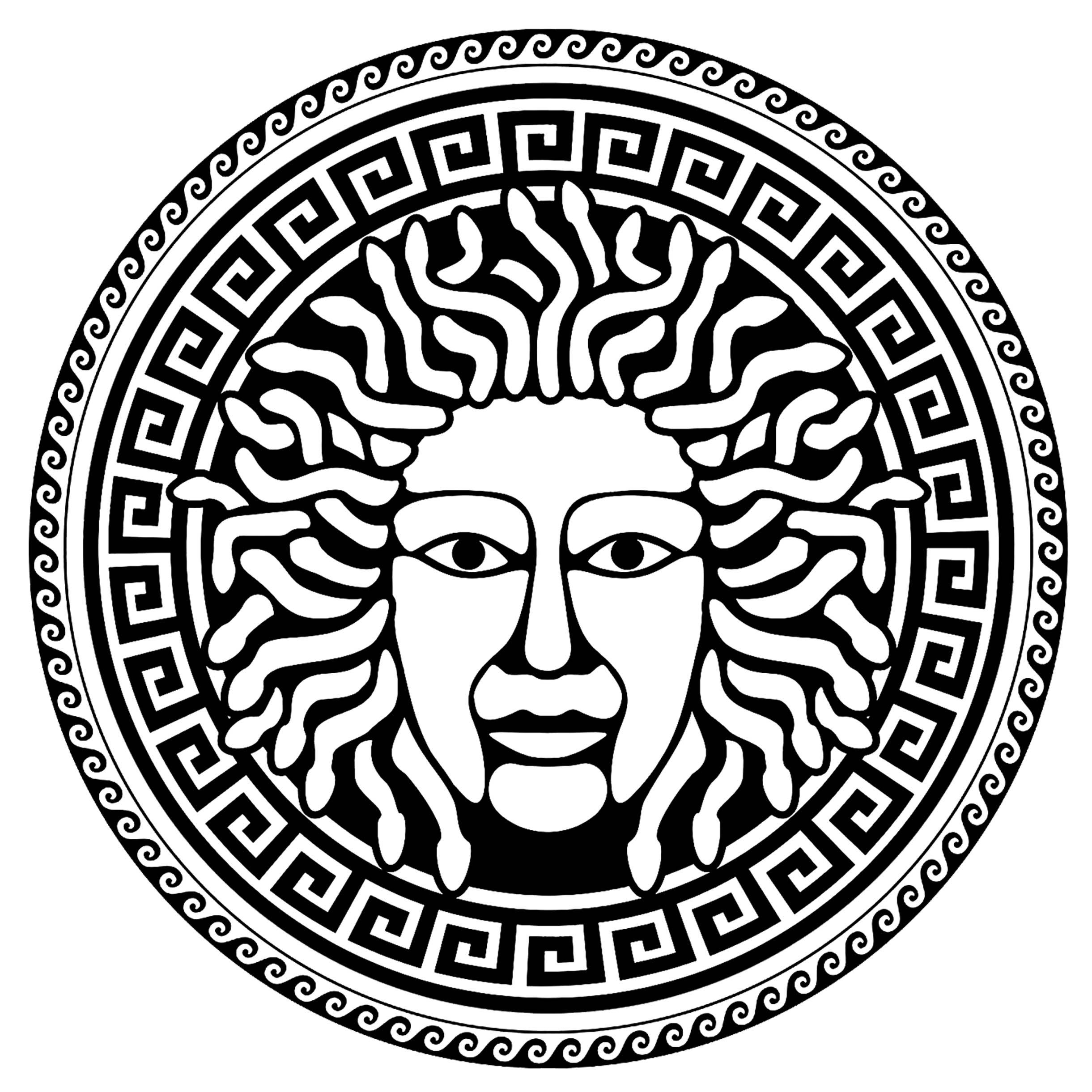 Médusa au centre d'un cercle composé de motifs grecs typiques - 3