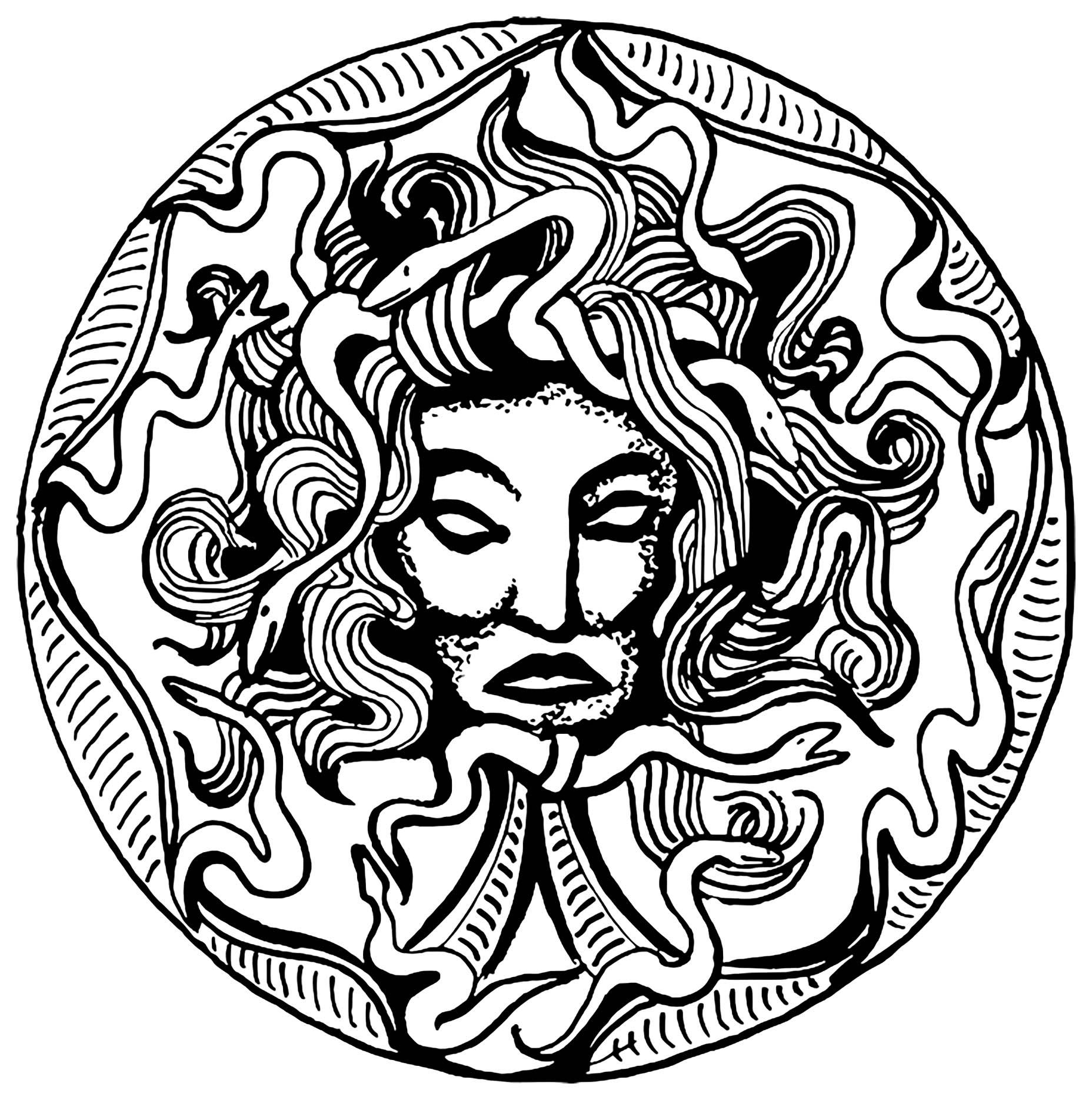La tête de Médusa, dans un cercle (à partir d'une amulette)
