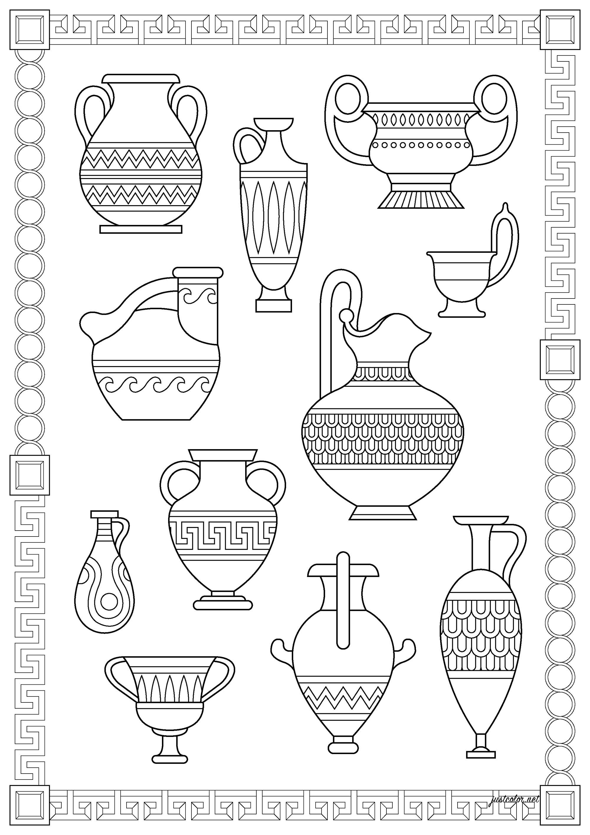 Petit inventaire de différents vases grecs, inspirés de réels poteries de la Grèce Antique
