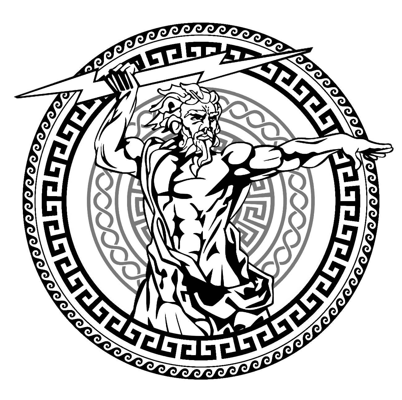Le Dieu de la Mythologie Grecque Zeus, dans un cercle comportant des motifs typiques