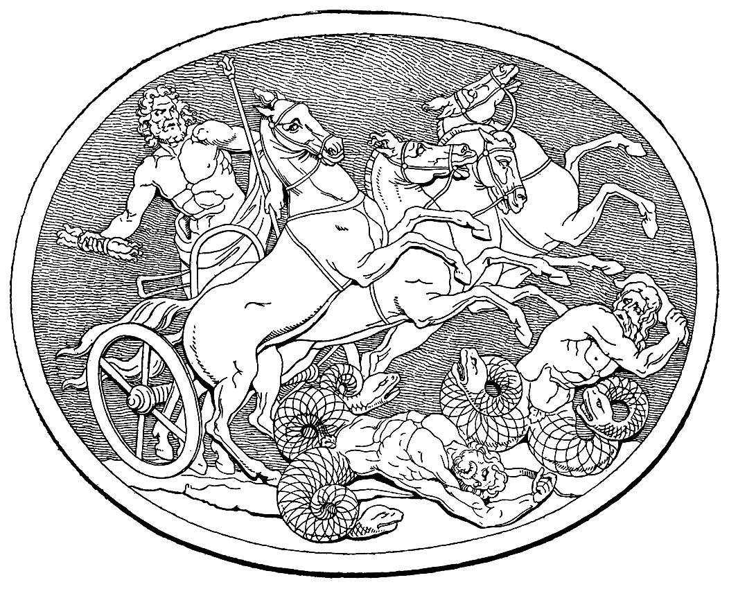 Le Dieu de la Mythologie Grecque Zeus, et les Géants. (Charles Mills Gayley, The Classic Myths in English Literature and in Art (Boston: Ginn and Company, 1893))