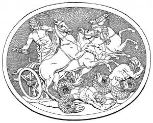 Coloriage zeus dieu grec et les geants mythologie