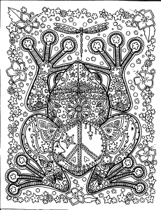 Coloriage adulte animaux grosse grenouille