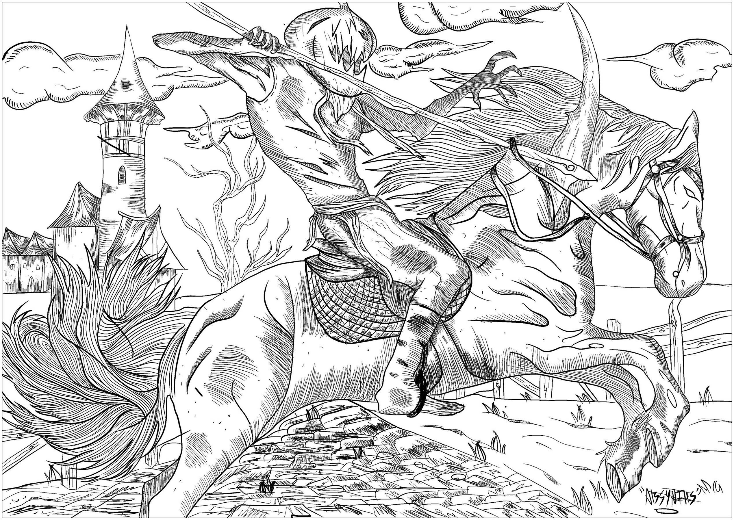 Le Cheval maléfique à la tête de citrouille, chevauchant son cheval démoniaque ... un vrai cauchemar à colorier !