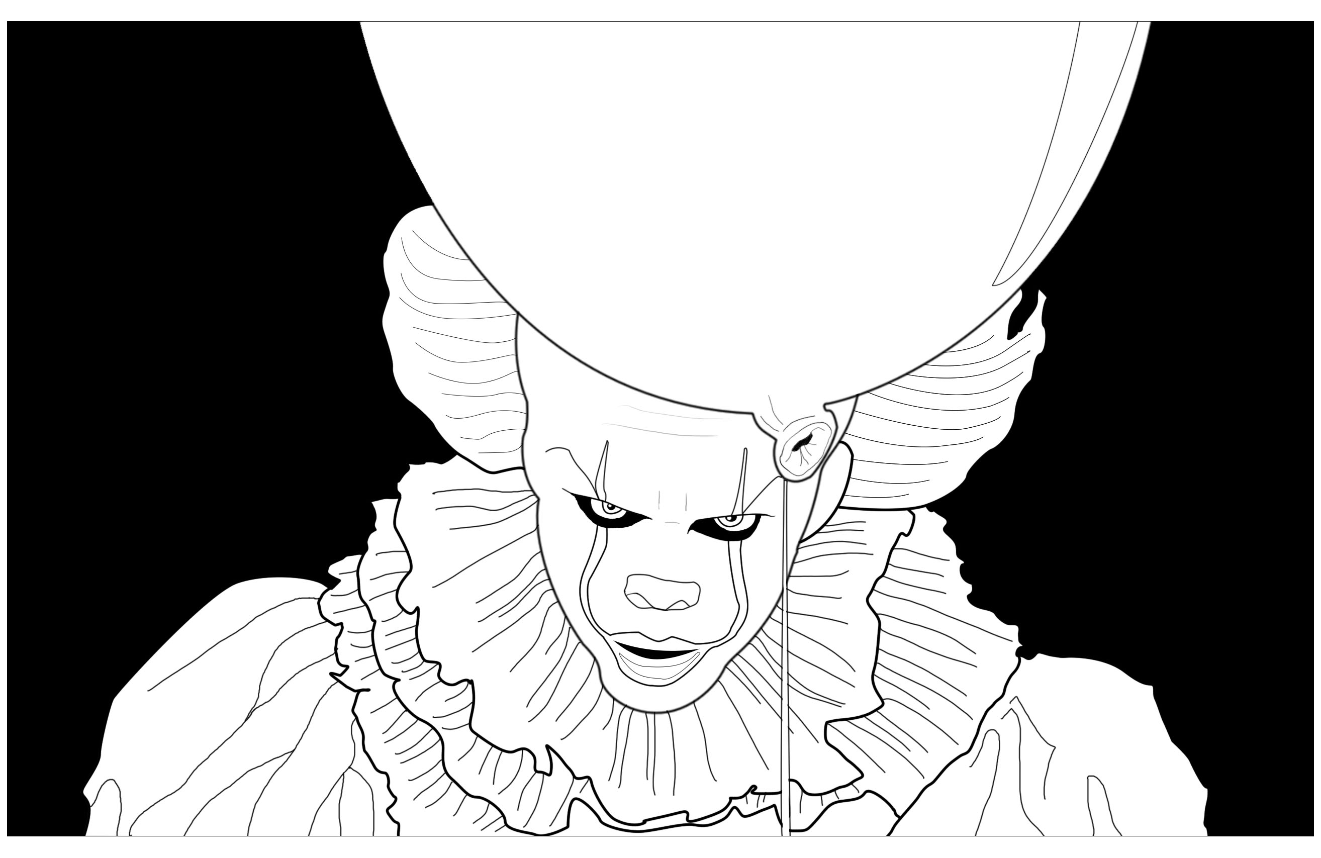 Coloriage Clown Ca.Clown Ca Grippe Sous Fond Noir Halloween Coloriages