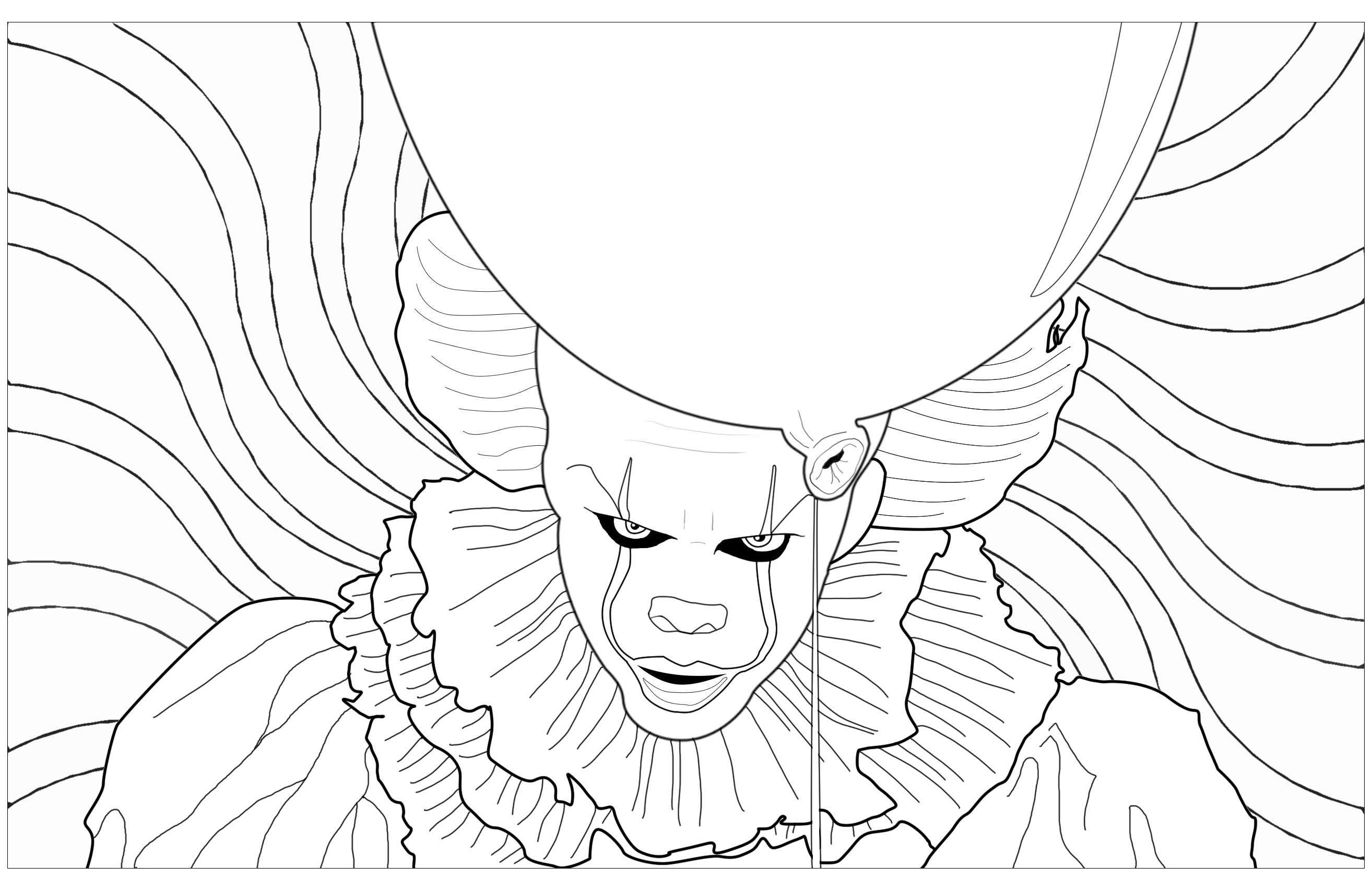 Coloriage Clown Drole.Clown Ca Grippe Sous Fond Psychedelique Halloween